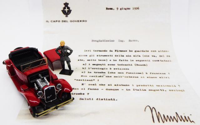 RIO 1/43 アルファロメオ 1750 トーピードウ ムッソリーニからニコラ・ロメオへの手紙&ムッソリーニ フィギュア付き