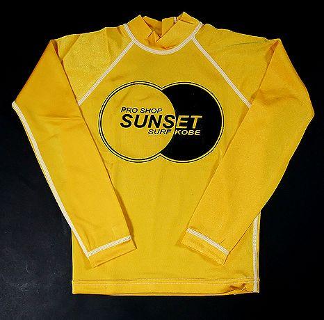 SUNSET・SURF【サンセット・サーフ】 キッズ長袖【ラッシュガード】 イエロー サイズあり