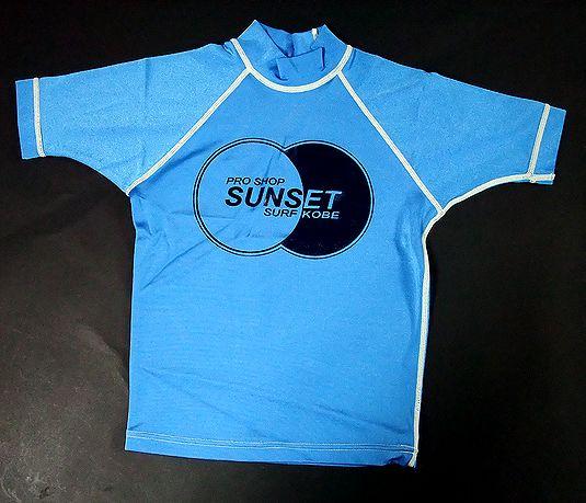 SUNSET・SURF【サンセットサーフ】 キッズ半袖【ラッシュガード】 ブルー