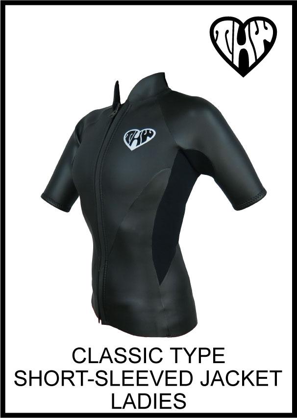 【送料無料】 thw wetsuits 【フロントジップジャケット】半袖タッパー【クラシックウェットスーツ/レディース】
