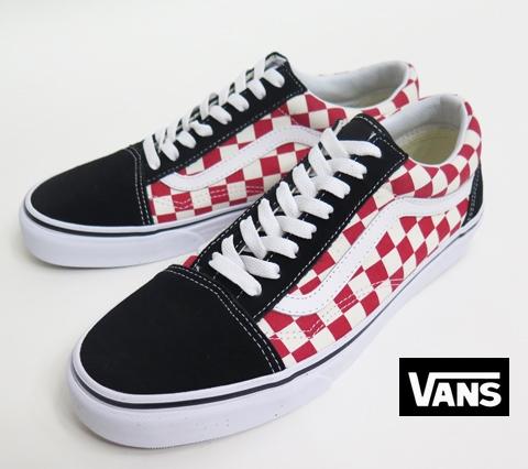 【VANS】 OLD SKOOL/Checkerboard (WHT/RED/BLK) 26.5cm/US8.5