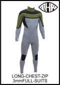 ロングチェストジップ 3×3mmフルスーツ 【最新ストレッチ素材仕様】 thw wetsuits  送料無料