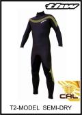 軽量伸縮起毛素材 カール仕様 【送料無料】 thw wetsuits T2-MODEL 【セミドライ】 インナーネック装備