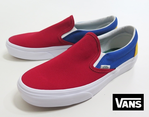 【VANS】 CLASSIC SLIPON /YACHT CLUB (RED/BLUE/YEL) 26.5cm/US8.5