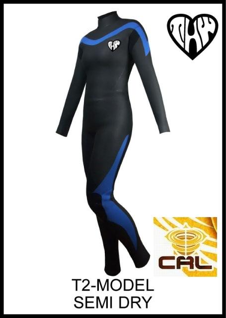 超軽量起毛素材 【送料無料】 thw wetsuits /T2-MODEL 【セミドライ5×3mm】インナーネック装備 【カール仕様】