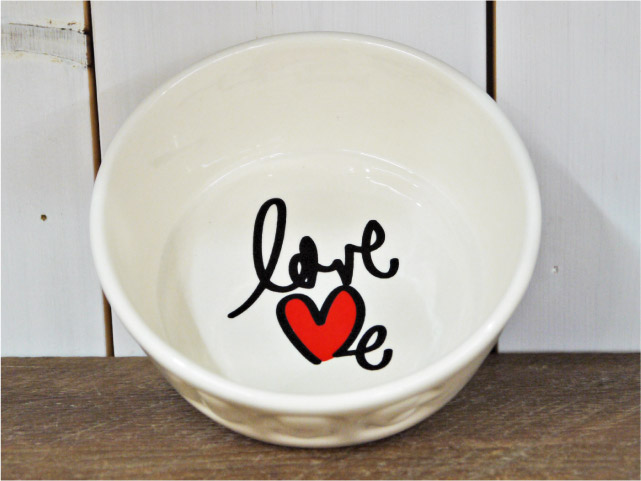 BAUER POTTERY バウワーポテリー DOGBOWL S・LOVE ME