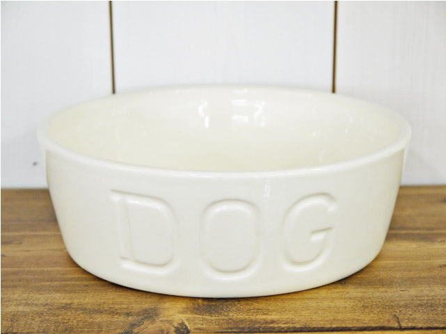 BAUER POTTERY DOG BOWL Mサイズ ホワイト