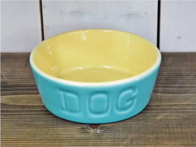 BAUER POTTERY バウワーポテリー DOGBOWL S・アクア×バタークリーム