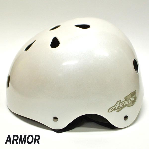 ARMOR/アーマー OLD SCHOOL HELMET SHINNY WHITE ONESIZE スケートボード用ヘルメット 大人用 スケボー SK8 [返品、交換及びキャンセル不可]