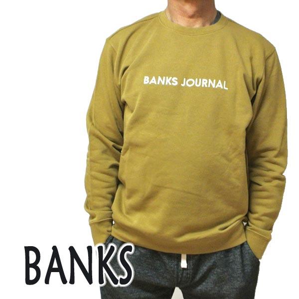 BANKS/バンクス LABEL CREW BRONZE メンズ L/S 長袖 トレーナー スウェット ロゴプリント 0282[返品、交換及びキャンセル不可]