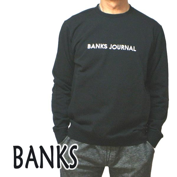 BANKS/バンクス LABEL CREW DIRTY BLACK メンズ L/S 長袖 トレーナー スウェット ロゴプリント 0282[返品、交換及びキャンセル不可]