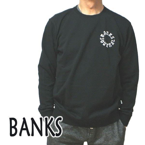 BANKS/バンクス WEST COAST CREW DIRTY BLACK メンズ L/S 長袖 トレーナー スウェット ロゴプリント 0283[返品、交換及びキャンセル不可]