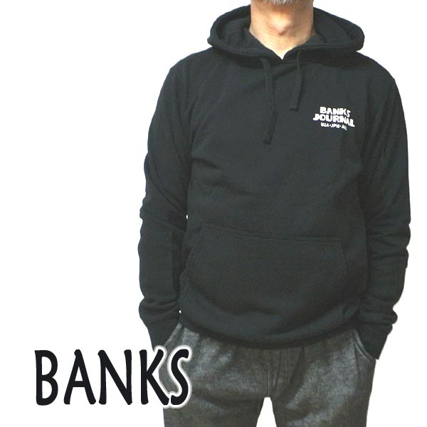 BANKS/バンクス EVERY WHERE HOOD DIRTY BLACK メンズ L/S 長袖 フード付きトレーナー スウェット ロゴプリント 0288 [返品、交換及びキャンセル不可]
