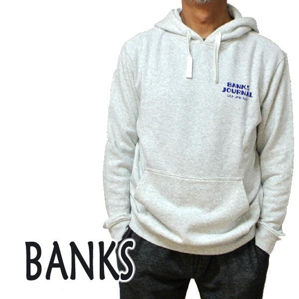 BANKS/バンクス EVERY WHERE HOOD OFF WHITE HEATHER メンズ L/S 長袖 フード付きトレーナー スウェット ロゴプリント 0288 [返品、交換及びキャンセル不可]