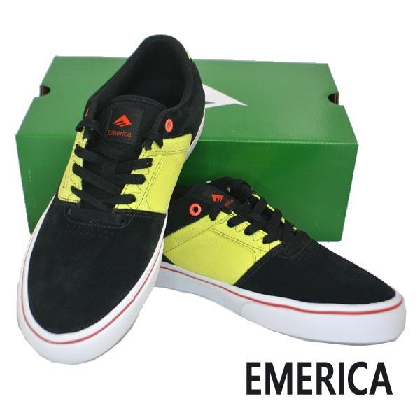 EMERICA/エメリカ THE LOW VULC BLACK/GREEN 靴 スケートボードシューズ スニーカー 985 [サイズのある場合のみ交換可能 返品キャンセル一切不可]