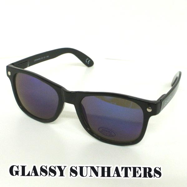 GLASSY SUNHATERS/グラッシーサンヘイターズ サングラス LEONARD BLACK BLUE-MIRROR サングラス EYEWEAR/アイウェア[返品、交換及びキャンセル不可]