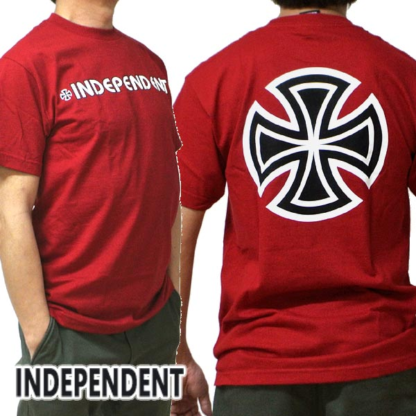 INDEPENDENT/インデペンデント BAR/CROSS S/S REGULAR TEE CARDINAL Tシャツ T-shirts 半袖 丸首 [返品、交換及びキャンセル不可]