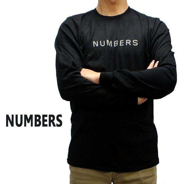 NUMBERS EDITION/ナンバーズエディション WORDMARK L/S TEE BLACK 長袖Tシャツ 丸首 ロンT 男性用 メンズ T-SHIRTS  [返品、交換及びキャンセル不可]