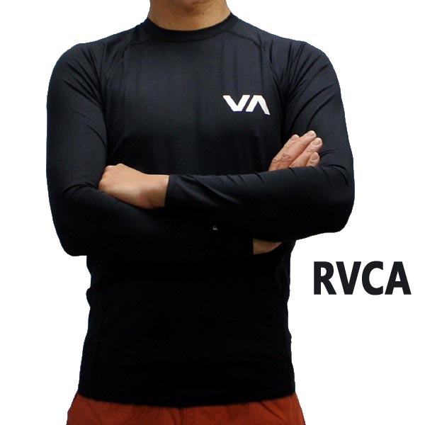 RVCA/ルーカ メンズ長袖ラッシュガード L/S RASHGUARD BLACK UVA/UVB 男性用水着 UVカット [返品、交換及びキャンセル不可]