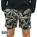 BANKS/バンクス GROVE ELASTIC BOARDSHORTS DIRTY BLACK 男性用 サーフパンツ ボードショーツ サーフトランクス 海パン 水着 メンズ BSE0081[返品、キャンセル不可]