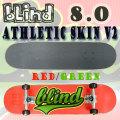 BLIND/ブラインド コンプリートスケートボード/スケボー ATHLETIC SKIN V2 RED/GREEN 8.0 送料無料 SKATEBOARDS スケボー 完成品 SK8