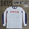 DEUS EX MACHINA/デウス エクス マキナ HIGHWAY MOTO JERSEY L/S TEE WHITE 長袖Tシャツ