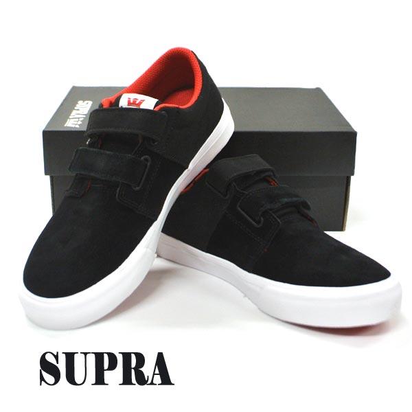 SUPRA/スープラ KIDS STACKS 2 VULC VELCO BLACK/RISK RED-WHITE 子供用 靴 スケートボードシューズ スニーカー 005 [サイズのある場合のみ交換可能 返品キャンセル一切不可]