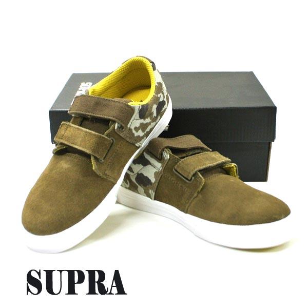 SUPRA/スープラ KIDS STACKS 2 VULC VELCO OLIVE-CAMO WHITE 子供用 靴 スケートボードシューズ スニーカー 379 [サイズのある場合のみ交換可能 返品キャンセル一切不可]