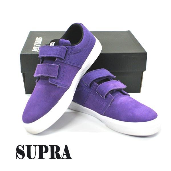SUPRA/スープラ KIDS STACKS 2 VULC VELCO PURPLE/BLACK 子供用 靴 スケートボードシューズ スニーカー 529 [サイズのある場合のみ交換可能 返品キャンセル一切不可]