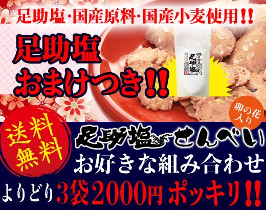 送料無料!!国産塩せんべい3袋足助塩おまけ付きで2000円ポッキリ!!