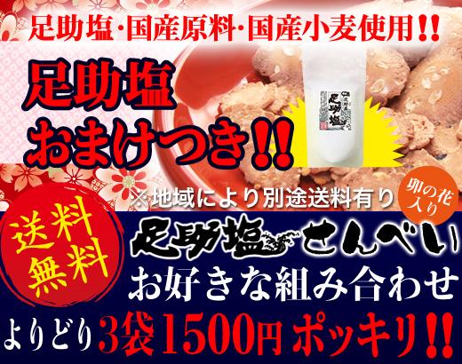 送料無料!!国産塩せんべい3袋足助塩おまけ付きで1500円ポッキリ!!