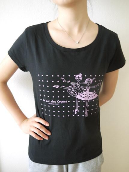 バレエ Tシャツ BネックT 《スワン ブラック》