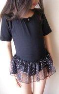 ドットスカート付き半袖レオタード子供用