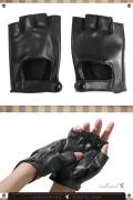 レザーグローブ 指なし /ブラック 黒 手袋 指ぬき /アパレル 4000-10