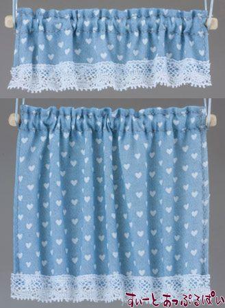 【米国製】【バーバラさんのカーテン】 コテージカーテン 2サイズセット ナーサリーハート ブルー BB50413