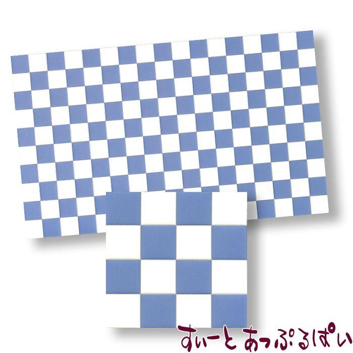 【スペイン製】 ドールハウス用タイルシート ブルーグレイxホワイト 275x163 mm WM34362