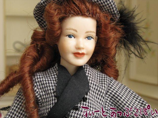 【Heidi Ott】 ハイジオットドール 黒い羽根帽子の貴婦人 おまけドールスタンド付き HO-X048