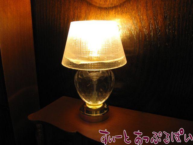 【在庫限り特価】【3V電池式LED照明】 キラキラクリスタルのナイトスタンド 傘透明 HKL-TL-002N