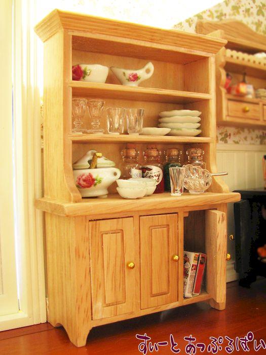 ミニチュア食器棚 カントリーナチュラル ID001