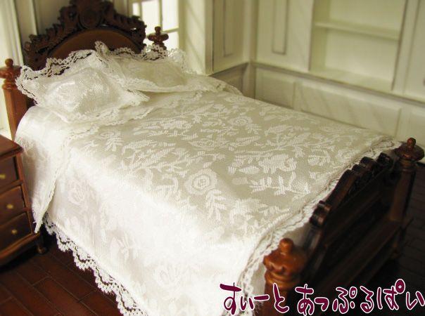 【レディアンのお気に入り】【ベッド別売り】 白いレースのリネンセット ピロー2個付き LA047