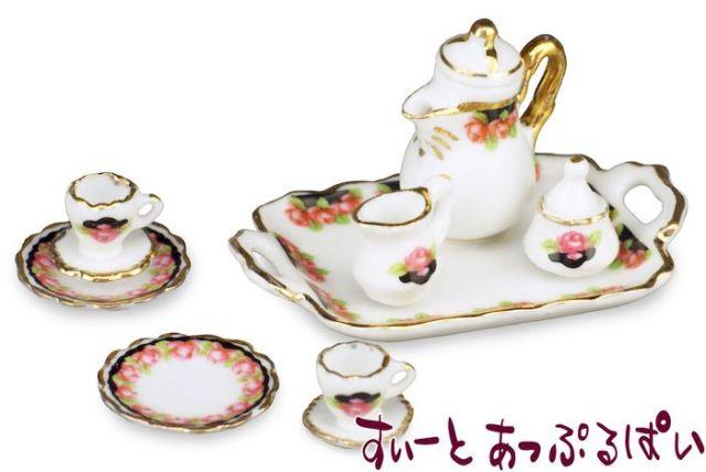 【ロイターポーセリン】 コーヒーセット ブラックローズ  RP1342-8