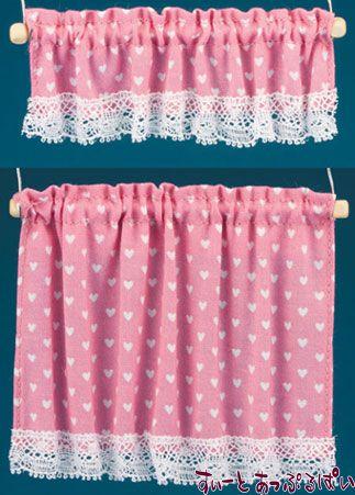【米国製】【バーバラさんのカーテン】 コテージカーテン 2サイズセット ナーサリーハート ピンク BB50414