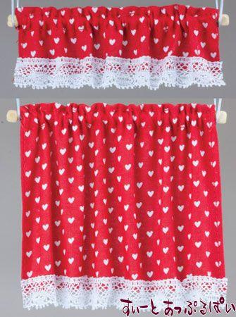 【米国製】【バーバラさんのカーテン】 コテージカーテン 2サイズセット ナーサリーハート レッド BB50416