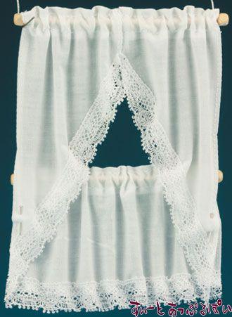 【米国製】【バーバラさんのカーテン】 キッチンカーテン 2サイズセット ホワイト BB50602
