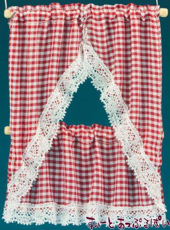【米国製】【バーバラさんのカーテン】 キッチンカーテン 2サイズセット ギンガムレッド BB50506
