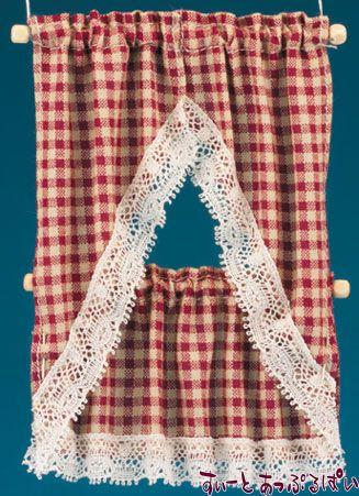 【米国製】【バーバラさんのカーテン】 キッチンカーテン 2サイズセット カントリーレッド BB51606