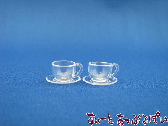 プラスチック製 透明カップ&ソーサー 2客セット IDMWDM190-1