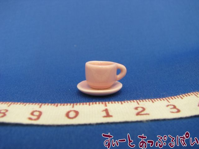 ハンドメイド陶器のカップ&ソーサー ピンク SMCCSP153