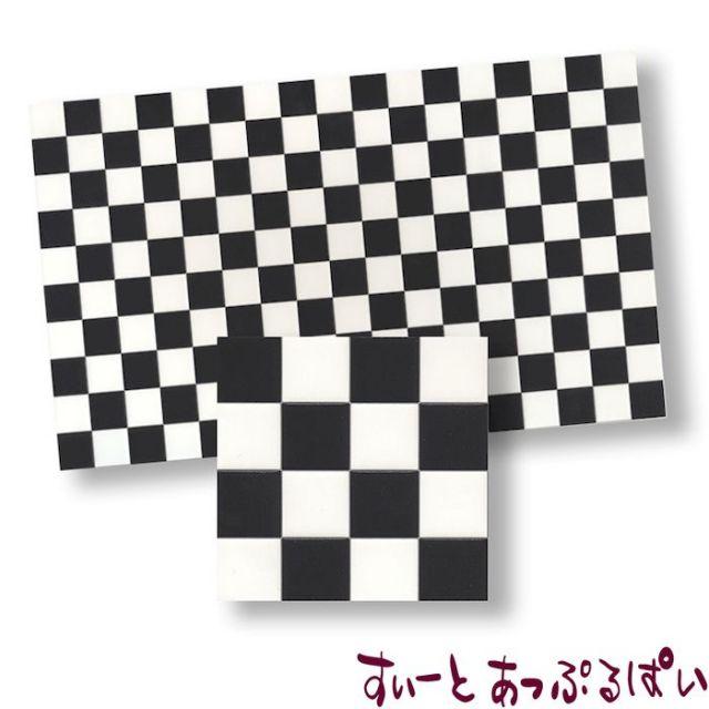 【1/24サイズ】【スペイン製】 ドールハウス用タイルシート ブラック x ホワイト 146x85mm WM24014