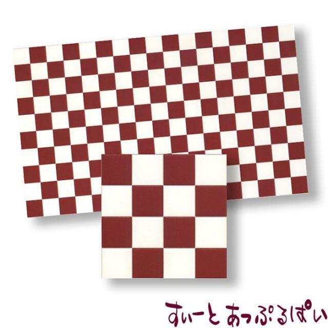 【スペイン製】 ドールハウス用タイルシート ブラウンXホワイト 275x163 mm WM34361